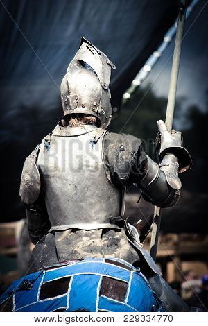 Armored Knight Preparing For His Next Jousting Match