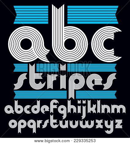 Vector Trendy Modern Lowercase Alphabet Letters Collection. Classic Bold Rounded Type Font, Script F
