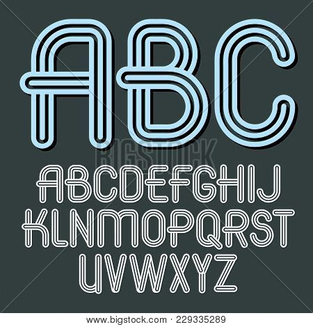 Set Of Trendy Vector Capital Alphabet Letters, Abc Isolated. Retro Type Font, Script From A To Z Can