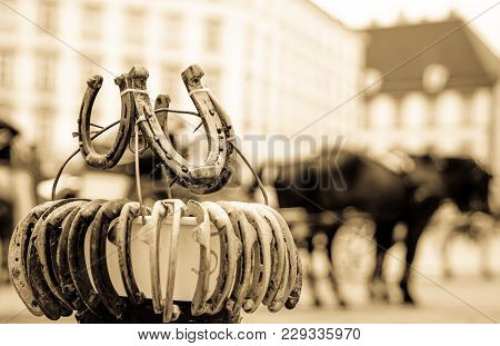 Feeling Of Yesterday, Stand Of Horse Shoes With Out Of Focus Horses In Street Behind And Buildings I