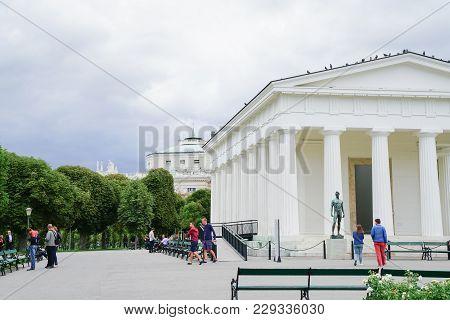 Vienna,austria - September 3 2017; Art, Architecture And People Around Theseus Temple Replica Neo-cl