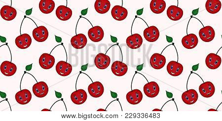 Seamless Vector Summer Bright Background. Seamless Pattern From The Image Of A Cherry. Background Fo