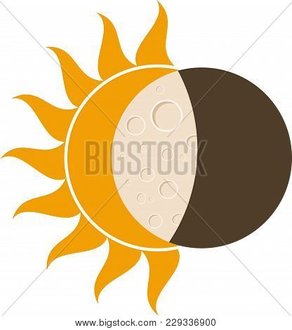 Total Solar Eclipse, Moon And Sun Vector Illustration For Web And Mobile Design