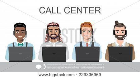 Vector Icons Set Multiracial Male Call Center Avatars In A Cartoon Style With A Headset, Conceptual