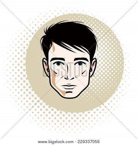 Caucasian Confident Brunet Male, Attractive Man Face, Vector Human Portrait.