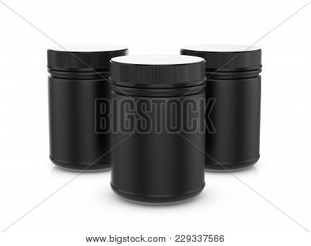 Whey Protein Container On A White Background. 3d Illustration.