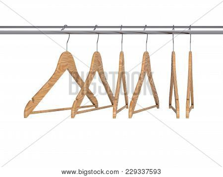 Hangers Hooked On Rail Isolated On White Background. 3d Illustration.