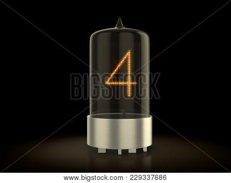 Nixie Tube Number Four On A Black Background. 3d Illustration.