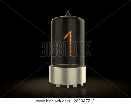 Nixie Tube Number One On A Black Background. 3d Illustration.