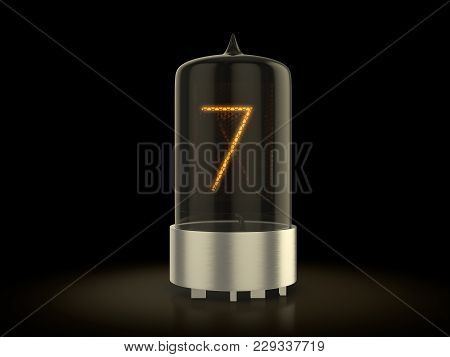 Nixie Tube Number Seven On A Black Background. 3d Illustration.