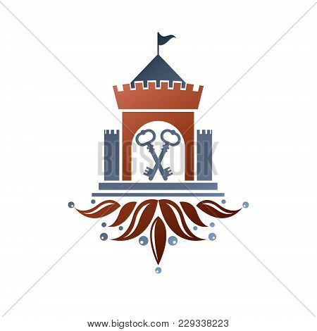 Medieval Fortress Decorative Isolated Vector Illustration.  Ornate Fortress Logo In Old Style On Iso