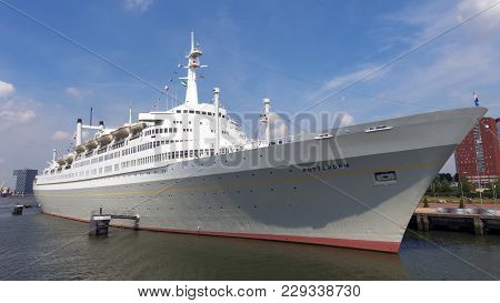 Rotterdam, The Netherlands - Aug 1, 2014: The Former Cruise Ship Ss Rotterdam Is A 228-meter, 13-dec