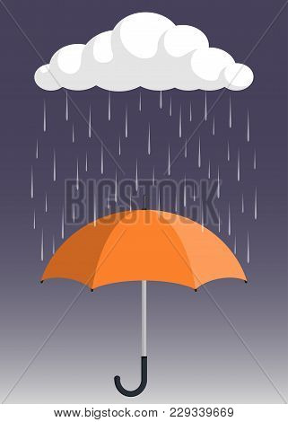 Cloud, Rain And Opened Umbrella In The Rain. Flat Style Vector Illustration.