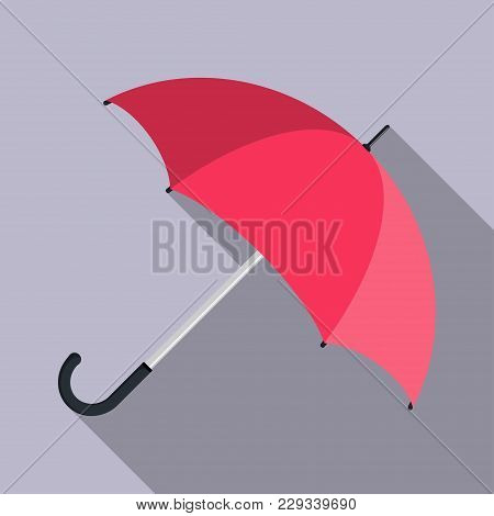 Opened Umbrella With Long Shadow, Closeup, Flat Design. Vector Illustration.