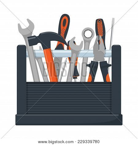Tool Box With Collection Of Carpentry, Mechanic, Locksmith Tools. Wrench, Screwdriver, Hammer, Rasp,
