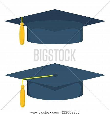 Graduation Cap, Vector Illustration In Flat Style. Academic Caps Set. Graduation Cap Isolated On Whi
