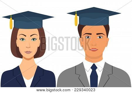 Student S Graduation Avatars. Man And Woman In Graduation Caps. Vector Illustration In Flat Style.