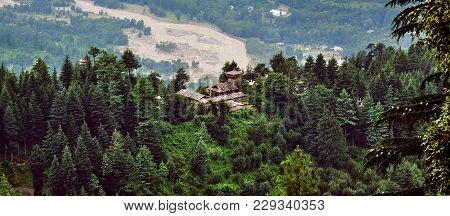 Aerial view of Kullu Valley with Krishna temple. Traditional countryside Krishna temple in Naggar. H