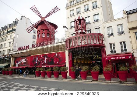 Paris, France - January 24, 2018: View At Moulin Rouge In Paris, France. The Original House, Which B