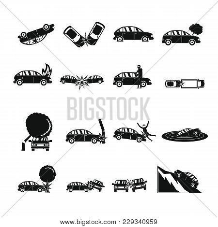 Accident Car Crash Case Icons Set. Simple Illustration Of 16 Accident Car Crash Case Vector Icons Fo