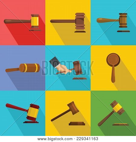 Judge Hammer Icons Set. Flat Illustration Of 9 Judge Hammer Vector Icons For Web