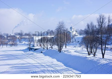 The City Of Pskov. Church Of Peter And Paul With Buja On The Steep Bank Of The Pskova River