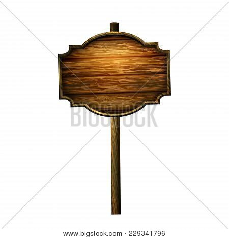 Wooden Sign Board Isolated On White. Wood Old Road Planks. Vector