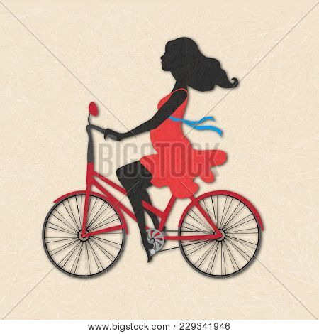 Silhouette Of Pregnant Woman On Red Bike. Illustration Of Calm Girl In Red Dress On Beige Background