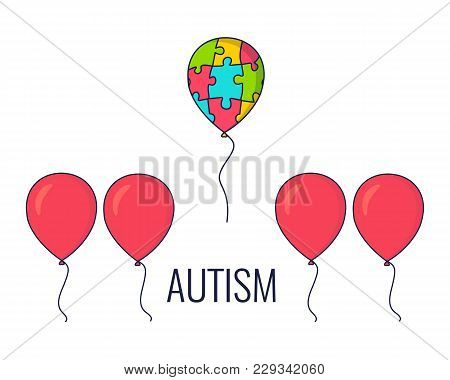 World Autism Day Awareness Poster With A Colorful Balloon Made Of Puzzle Pieces Flying Away From The