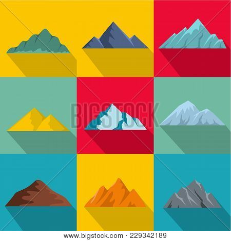 High Mountain Icons Set. Flat Set Of 9 High Mountain Vector Icons For Web Isolated On White Backgrou