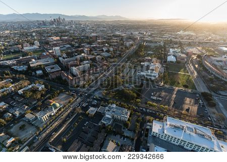 Aerial view of south of downtown Los Angeles in Southern California.