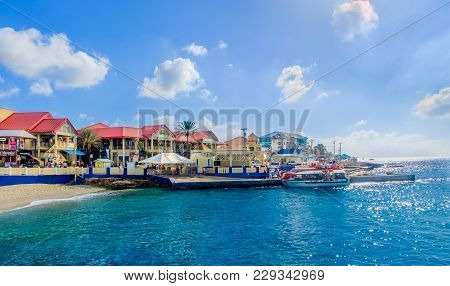 Grand Cayman, Cayman Islands, Feb 2018, Tourists Embarking On A Marine Shuttle At George Town Port S