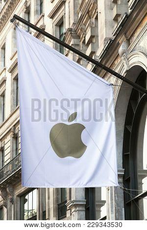 London, United Kingdom - January 31, 2018: Apple Flag On A Wall. Apple Is An American Multinational