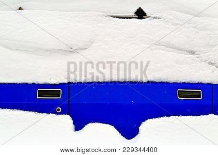 Blue Soviet Car Under The Snow. White Infinity.