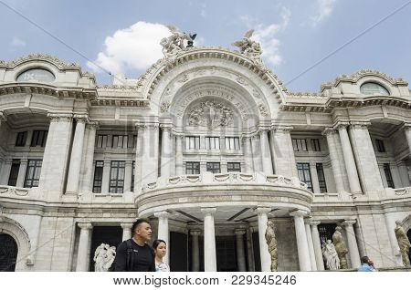 Mexico City- February 19, 2018: Part Of The Bellas Artes Palace Facade In A Sunny Day In Mexico City
