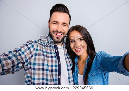 Close Up Portrait Of Young, Caucasian, Attractive, Lovely, Cute, Sweet, Smiling, Positive  Couple In