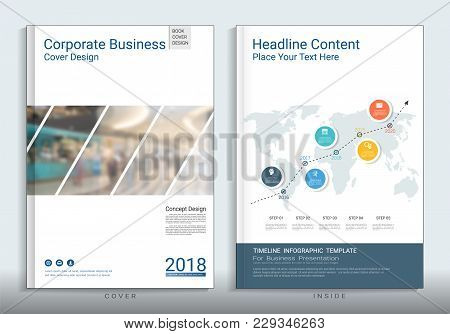 Corporate Business Cover Book Design Template With Infographics, Use For Annual Report, Brochure, Fl