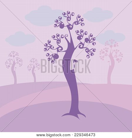 Light Violet With Curls Bent Tree With Blue Clouds, Purple Meadows And Trees On A Background