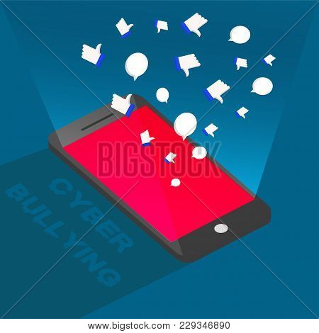Cyber Bullying From Phone Background Graphic Vector Illustrations