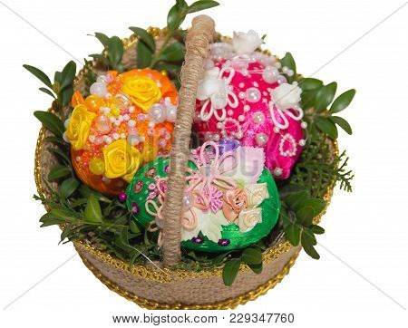 Basket With Easter Eggs. Handmade Crafts Made Of Satin Ribbons. Kanzashi
