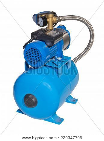 Individual Pump Station For The Home. Electric High Pressure Pump Isolated On White