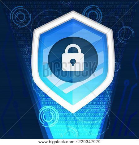 Shield Cyber Security Background Graphic Vector Illustrations