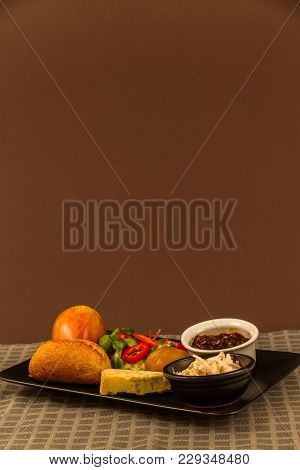 Ploughman's Lunch With Stilton Cheese, Copy Space, Above