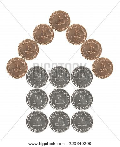 House Built From Emirates Dirham Coins Isolated On White Background
