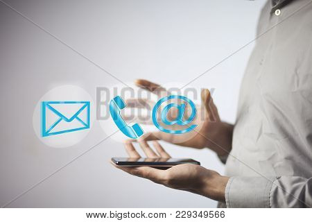 Business Man Hand Phone With Message,phone And @mail Mark In Screen
