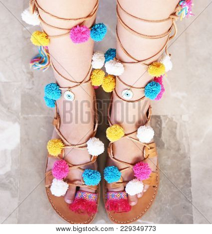 Greek Leather Sandals With Colorful Pom Pom And Evil Eye - Woman Accessories Advertisement