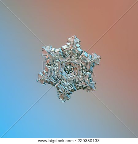 Snowflake Glittering On Blue Gradient Background. Macro Photo Of Real Snow Crystal: Sectored Plate W