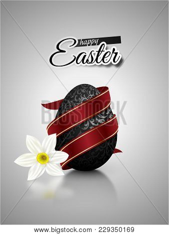 Black Mat Realistic Egg With Metallic Floral Pattern Diagonal Wrapped Red Ribbon. Gray Background Wi