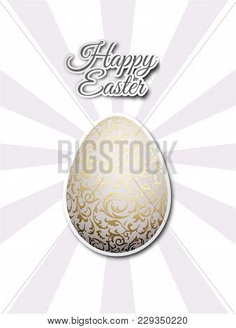 White Egg With Golden Metallic Floral Pattern. Flat Sticker On Gray Sun Beams Background. Bright Gre
