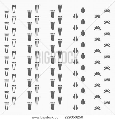 Set Of Mechanical Animals Footprints. Robot Footprints. Vector Illustration Isolated On Background.